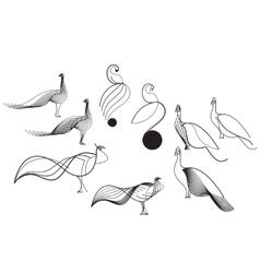 Bird sketch of the lines vector image vector image
