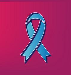 Black awareness ribbon sign blue 3d vector