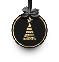 Black card with golden christmas tree vector