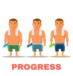 Cartoon guy fit progress after work out with towel vector image