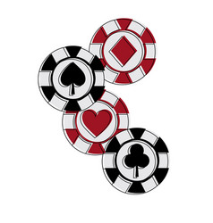 Casino chips club heart spade and diamond gamble vector
