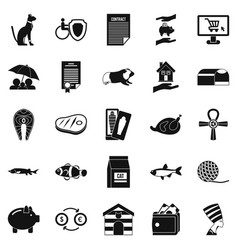 Cat icons set simple style vector
