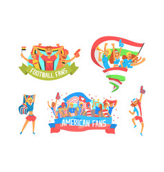 Cheering happy crowds of national sport team fans vector