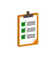 Clipboard with checklist symbol flat isometric vector