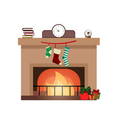 colorful fireplace icon isolated in cartoon flat vector image vector image