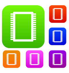 computer electronic circuit board set color vector image vector image