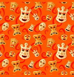 Different wooden voodoo masks on red background vector
