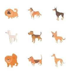 Dog icons set cartoon style vector