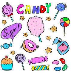 Doodle of candy cute style design vector