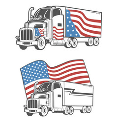 Emblem with heavy truck isolated on white vector
