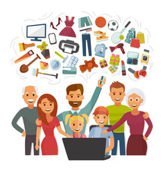 family with credit card shopping online happy vector image
