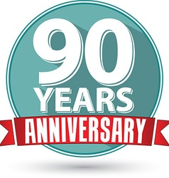 Flat design 90 years anniversary label with red vector image