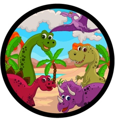 funny dinosaur cartoon set vector image