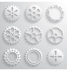 Gear wheels icon set nine 3d gears on a light gray vector