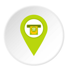 Green map pin pointer with atm sign icon circle vector