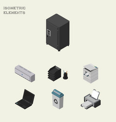 Isometric office set of printing machine scanner vector