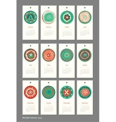 Mini cute calendar 2015 seasons vector image vector image