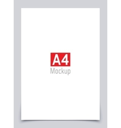 Mockup blank white paper page a4 size with shadow vector