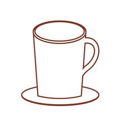 Mug coffee plate thin line vector