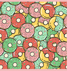 seamless pattern colored donuts vector image vector image