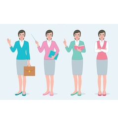 Set of female teacher vector image vector image