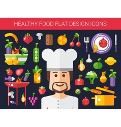 Set of flat design fruits and vegetables icons vector image vector image