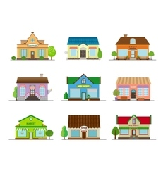 Stores and shops buildings vector image vector image