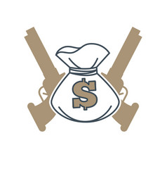 Symbol with money bag and guns vector