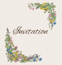 template for invitation card with decoration from vector image vector image