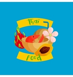 Thai food icon in flat style vector image