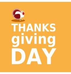 Thanksgiving day card with turkey and text in vector image vector image