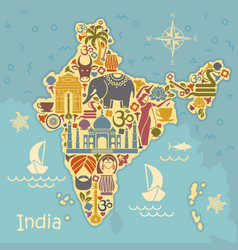 traditional symbols of india in the form of a vector image vector image