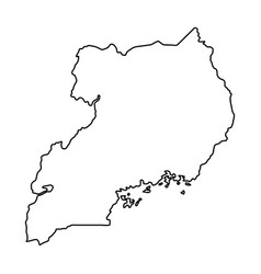 Uganda map of black contour curves on white vector