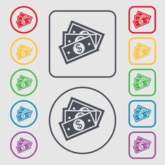 Us dollar icon sign symbol on the Round and square vector image