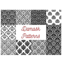 Black and white damask floral patterns set vector