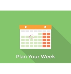 Plan your week concept with a calendar and long vector