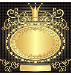 Decorative gold oval plate vector