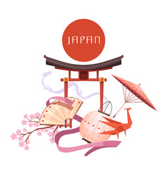 Japanese culture elements retro cartoon vector