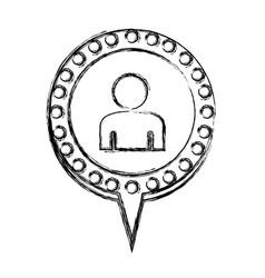 monochrome sketch with half body man and circular vector image