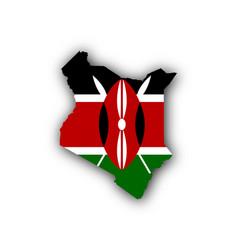 Map and flag of kenya vector