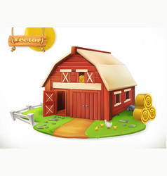 farm red garden shed 3d icon vector image