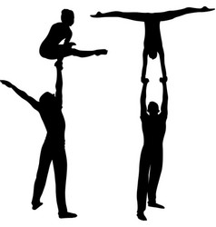 gymnasts acrobats black silhouette on black vector image