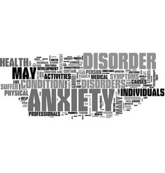 Anxiety cure text word cloud concept vector