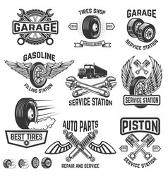 garage service station auto parts store filling vector image