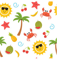 Colorful summer seamless pattern with sun crab vector