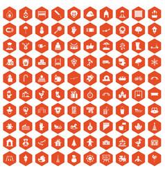 100 kindergarten icons hexagon orange vector
