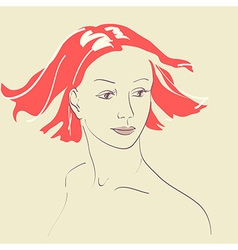 Beautiful woman face hand-drawn portrait vector image