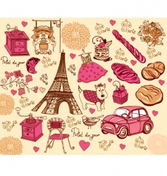 Paris design elements vector image