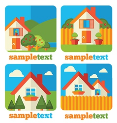 little homes icons vector image