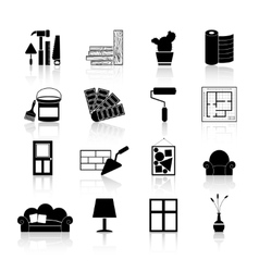 Interior design icons black vector
